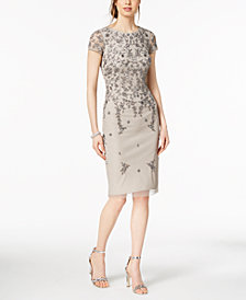 Adrianna Papell Short-Sleeve Beaded Dress