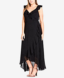 City Chic Trendy Plus Size Ruffled Wrap Dress