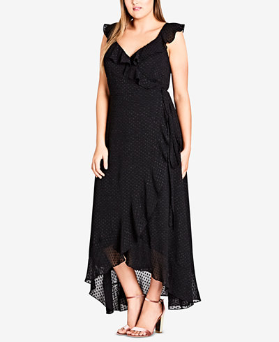 City Chic Trendy Plus Size Ruffled Wrap Dress