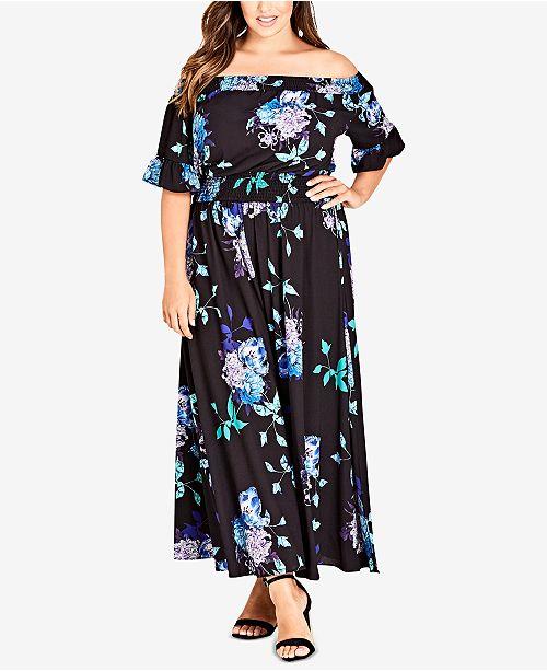 City Chic Trendy Plus Size Off-The-Shoulder Maxi Dress - Dresses ...
