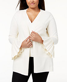 Charter Club Plus Size Pleated-Sleeve Cardigan, Created for Macy's
