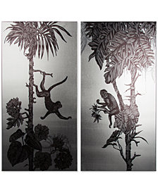 Graham & Brown Monkey Mayhem Silver Metallic Canvas Print, Set of 2
