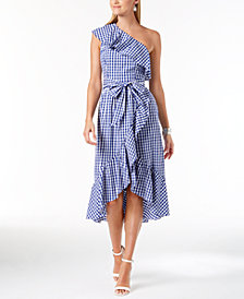 Adrianna Papell Gingham-Print One-Shoulder Flounce Dress