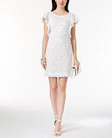 Robbie Bee Petite Flutter-Sleeve Lace Dress