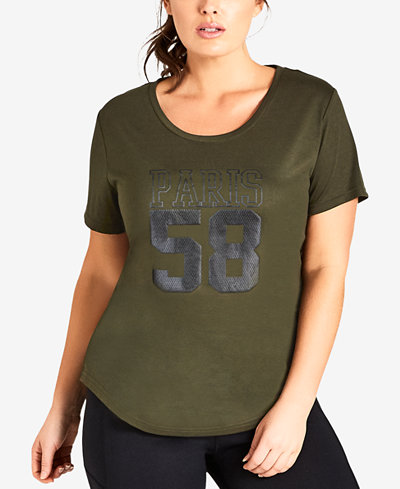 City Chic Trendy Plus Size Cotton Varsity T-Shirt