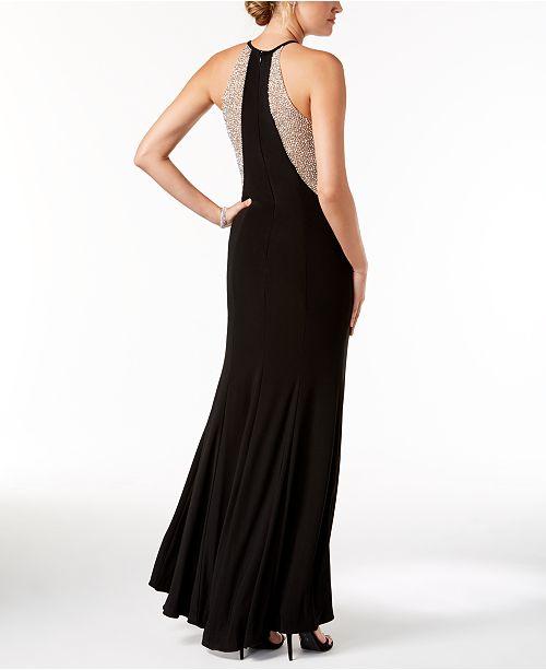 Caviar Illusion Beaded XSCAPE Nude Gown Black vZSdc4cxTf