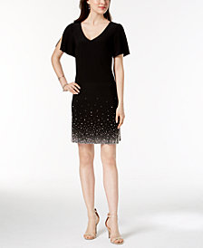 MSK Beaded Split-Sleeve Dress