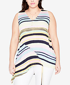 RACHEL Rachel Roy Trendy Plus Size Striped Asymmetrical-Hem Tunic