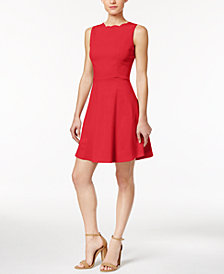 Monteau Petite Scalloped Fit & Flare Dress, Created for Macy's