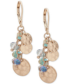 lonna & lilly Gold-Tone Shaky Disc & Bead Drop Earrings