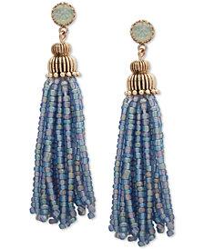 lonna & lilly Gold-Tone Stone & Beaded Tassel Drop Earrings