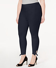Lysse Women's  Plus Size Side-Tie Cropped Leggings