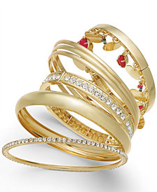 Thalia Sodi Gold-Tone 7-Pc. Set Polished, Bead & Crystal Bangle Bracelets, Created for Macy's