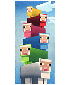 "Jay Franco Minecraft Rainbow of Sheep Cotton 28"" x 58"" Beach Towel"