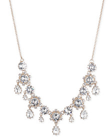 "Marchesa Gold-Tone Crystal Drop Statement Necklace, 16"" + 3"" extender"