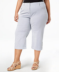 Karen Scott Plus Size Striped Capri Pants, Created for Macy's