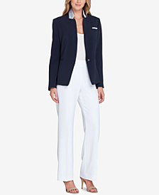 Tahari ASL Convertible Notch-Collar One-Button Jacket