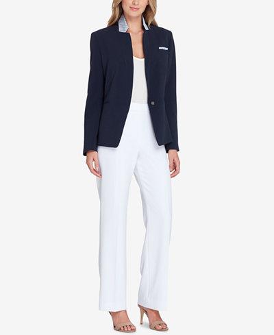 Tahari ASL Convertible Notch-Collar One-Button Jacket
