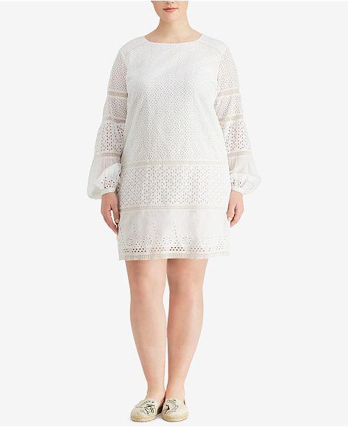 Lauren Ralph Lauren Plus Size Eyelet Lace Cotton Dress ...