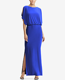 Lauren Ralph Lauren Slit-Sleeve Jersey Gown