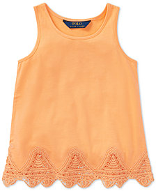 Polo Ralph Lauren Lace-Trim Tank Top, Little Girls