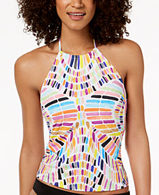 Bar III Kalediscope Printed High-Neck Halter Tankini Top, Created for Macy's