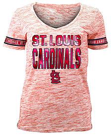 5th & Ocean Women's St. Louis Cardinals Plus Space Dye Sleeve T-Shirt