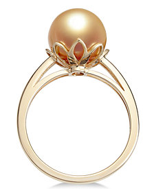 Cultured Golden South Sea Pearl (10mm) Ring in 14k Gold