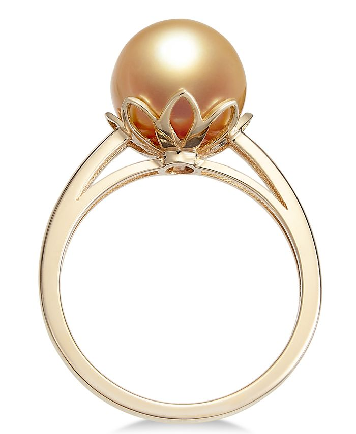 Macy's - Cultured Golden South Sea Pearl (10mm) Ring in 14k Gold