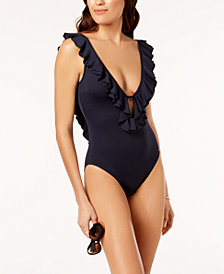 MICHAEL Michael Kors Ruffled Scoop-Back One-Piece Swimsuit