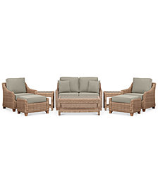 Willough Wicker  8-Pc. Set (1 Loveseat, 2 Club Chairs, 1 Coffee Table, 2 Ottomans & 2 End Tables) with Custom Sunbrella® Colors, Created For Macy's