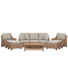 Willough Wicker 6-Pc. Set (1 Sofa, 2 Club Chairs, 1 Coffee Table & 2 Ottomans) with Custom Sunbrella® Colors, Created For Macy's