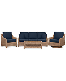 Willough Wicker Outdoor 4-Pc. Set (1 Sofa, 1 Club Chair, 1 Swivel Glider & 1 Coffee Table) with Custom Sunbrella® Colors, Created For Macy's