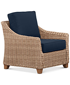 Willough Wicker Outdoor Club Chair: with Custom Sunbrella® Colors, Created For Macy's