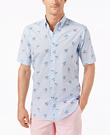 Club Room Men's Stripe Flamingo-Print Shirt, Created for Macy's