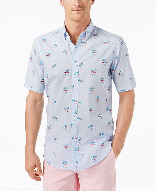 1884a5d2 ... Club Room Men's Stripe Flamingo-Print Shirt, Created for Macy's ...