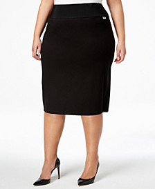 Plus Size Pull-On Tummy-Control Pencil Skirt