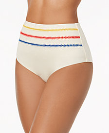 Dolce Vita Embroidered High-Waist Bikini Bottoms