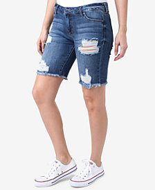 Celebrity Pink Juniors' Ripped Denim Bermuda Shorts