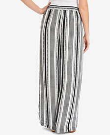 NY Collection Striped Tasseled-Drawstring Pants