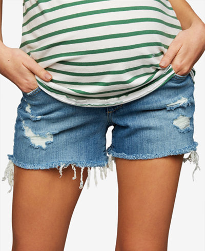 A Pea in the Pod Maternity Distressed Denim Shorts