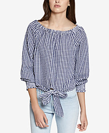 Sanctuary Claire Cotton Tie-Hem Gingham Top