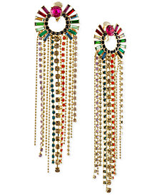 RACHEL Rachel Roy Gold-Tone Multi-Stone Beaded Fringe Drop Clip-on Earrings