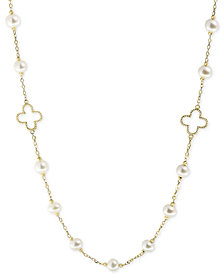 "Pearl by EFFY® White Cultured Freshwater Pearl (6mm) 32"" Statement Necklace in 14k Gold"