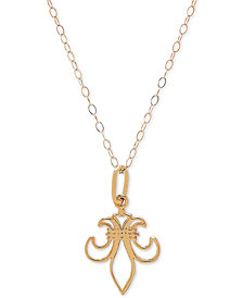 "Fleur de Lis 18"" Pendant Necklace in 10k Gold"