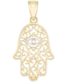 Two-Tone Hamsa Hand Pendant in 14k Gold & White Gold