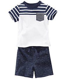First Impressions Striped Pocket T-Shirt & Marled Shorts, Baby Boys, Created for Macy's