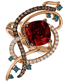 Exotics® Crazy Collection® Pomegranate Garnet™ (4-1/2 ct. t.w.) & Diamond (5/8 ct. t.w.) Statement Ring in 14k Rose Gold