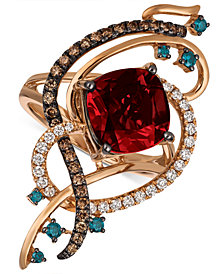Le Vian Exotics® Crazy Collection® Pomegranate Garnet™ (4-1/2 ct. t.w.) & Diamond (5/8 ct. t.w.) Statement Ring in 14k Rose Gold