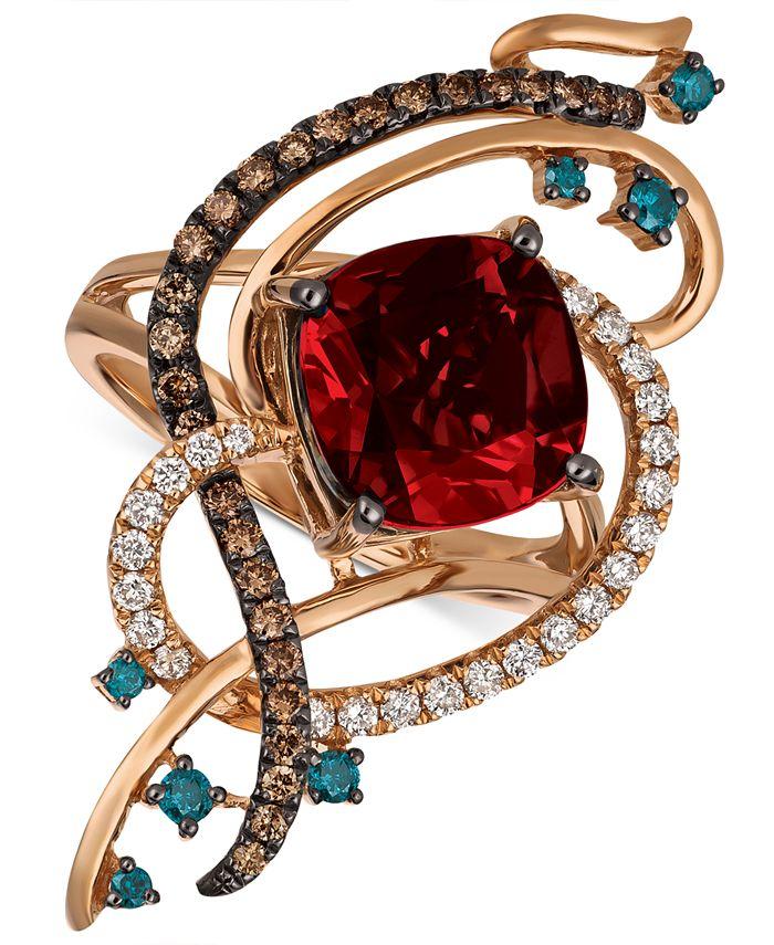 Le Vian - Multi-Gemstone (4-1/2 ct. t.w.) & Diamond (5/8 ct. t.w.) Statement Ring in 14k Rose Gold